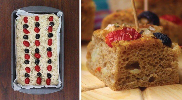 Ein schneller Snack? Versuche diese Focaccia mit Kirschtomaten und Oliven…sie wird ein Erfolg sein!