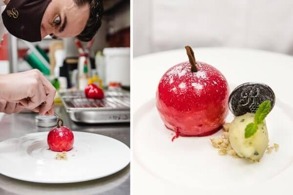 Weihnachtsdessert der Extraklasse: Essbare Christbaumkugeln aus Lebkuchen Mousse, Apfelfüllung & Spiegelglasur