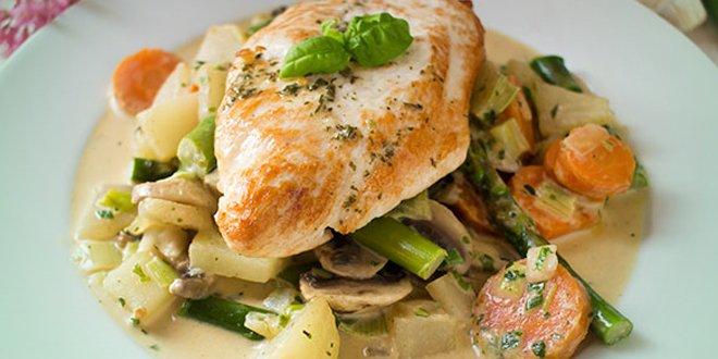 Putenschnitzel auf Gemüsebett