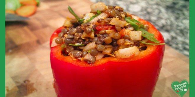 gefüllte paprika mit linsen und ziegenkäse