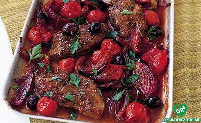 rumpsteak mit geschmorten balsamico-tomaten