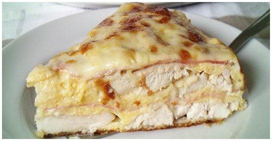 Salzige Chicken Pie mit Schinken und Käse